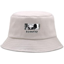 Secchio cappelli fresco per gli uomini online-Touge Inumaki Jujutsu Kiasen Cool Stampa Uomo Donna Beach Caps Trendy Pescatore Cappuccio Summer Sun Back Hats Hip Hop Cool Secchio Cappello