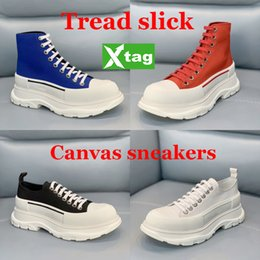 Scarpe di tela per le ragazze online-New Fashion Platform Shoes Tread Slips Canvas Sneaker Girls Stivali Alti Pallido Rosa Rosso Royal Bianco Triple Black Whith Sneakers da corsa 35-40