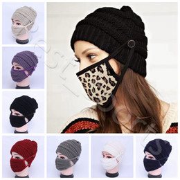 Gorros para el invierno online-Winter Warm Knit Beanie Reutilizable Lavable Máscaras de la cara 8 colores Outdoor Sports Woman Tapas de punto Máscaras Cyz2943