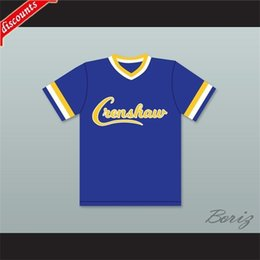 Camicie di fragola online-Commercio all'ingrosso Darryl Strawberry 18 Crenshaw High School Couguars Blue Baseball Jersey Mens Stitched Jersey Shirts Dimensione S-XXXL Spedizione gratuita