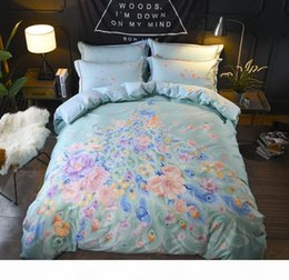 Piumino di pavone online-Biancheria da letto Boemia set King Queen Size 4pcs Peacock Flowers Stampato Cover Duvet Set Flat Flow Pillowcase Cotton Home Decoration
