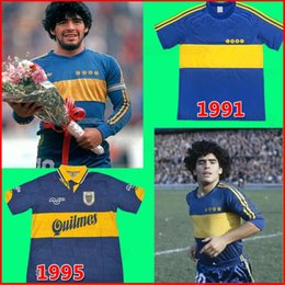 2021 junior tops xl 1981 Top Boca Juniors Retro Langarm Fußball Jersey Maradona Roman Caniggia Palermo Kurzarm Retro Football Hemd