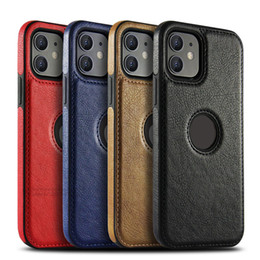 Iphone 11 custodia in pelle marrone online-Cassa del telefono in pelle TPU per iPhone 11 Pro Max iPhone XR X XS Max 7 8 6 Plus Back Red Blue Brown Case Cover posteriore