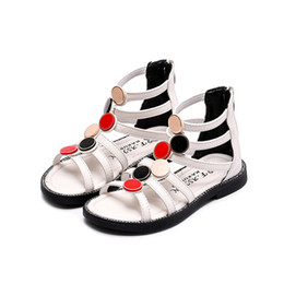 Zapatos de gladiador para niños online-CNFSNJ Little Girls Gladiador Sandalias Girl Summer Shoes Baby Princess Shoes Kids Gladiator Sandals Zip Toddler Niños Sandalias J1211