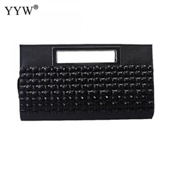Schwarze abendkupplung online-2020 Diamanten Strass Plaid Kupplungen Hangbags für Frauen Tragbare Softbags Clutch Bags Dame Black Goldsplitter Evening Purse Q1117