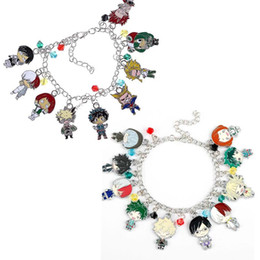 charmes de héros Promotion My Hero Academia Cartoon Charms Bracelet Boku No Hero Academia Metal Enamel Figurines Bracelet Cadeaux Cadeaux de collectionneurs pour fans d'anime