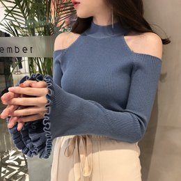 Suéter de punto blanco online-Sexy Off Shoulder Swee Sweeve Sweater Thin Sweater Knit Suéter de Punto Ordenador Punto Turtleneck Pullovers Tops Blanco Blanco Y200720