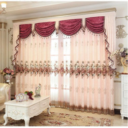 Cortinas de oro negro online-Cortina Pink Gold-Brown Cortinas bordadas Cortinas para sala de estar Estilo europeo de lujo Sheer cortinas