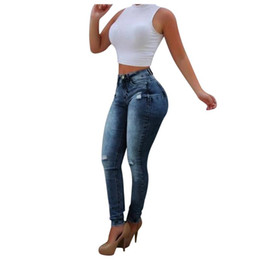 Mode jeans sauvage en Ligne-Femmes Fashion Hole Pocket Jeans Slim Slim Fit Pantalon serré Femmes Pantalons High Taille Pantalons Slim Fit Pantalon Spring Automne Stretch