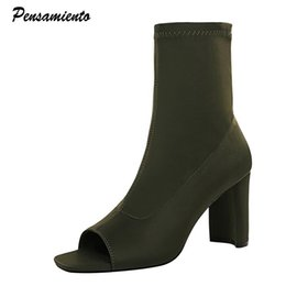 2021 toe chaussure de piaulement extensible Mode Stretch Femmes Bottes Simple Epais High High Heels Peep Toe Bottines Bottines Spring Automne Casual Streetwear Shortwear Short