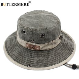 sombreros masculinos del cubo Rebajas Buttermere Men Bucket Hats Denim Casual Classic Vintage Fishing Hat 2019 Summer Spring Outdoor Plegable Beach Papas de sol Masculino T200103