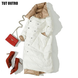 Giacca a doppia faccia online-2021 Inverno Duck Down Piumino per Donne Bianco Duck Down Coat Double Lated Wear Snow Snow Long Parkas caldo Femal Outwear Abbigliamento marchio