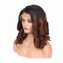 2021 belle fille perruques Attract 100% non transformé Beautiful vierge Remy Remy Human Cheveux humains Moyen Ombre Couleur Body Wave Full Dentelle Cap Wig pour fille belle fille perruques pas cher