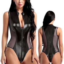 2021 catsuit in pelle senza maniche Moda New Ladies Donne PU Leather Leotard Rompere Pagliaccetti Zipper Tuta Catsuit senza maniche Solid Colour Body Q0104 sconti catsuit in pelle senza maniche