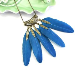 Chandails indiens en Ligne-Bohemian Feather Collier Feuille Indian Main Tissu Pull Spot National Scenic Spot