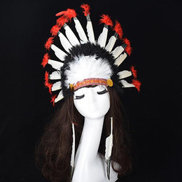 Karnevals-kopfschmuck online-Chief Style Hut Feder Kopfschmuck Thanksgiving Day Carnival Cosplay Requisiten Kopfschmuck Headwear Haarschmuck Stirnband ne