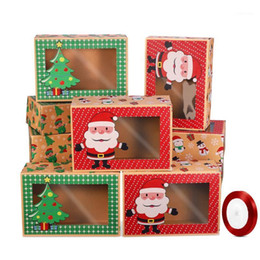 confezione di biscotti eco Sconti 12 pz Bookie di Natale Boxes Eco-friendly Pacchetto da forno portatile per Bupcake Party Favore1