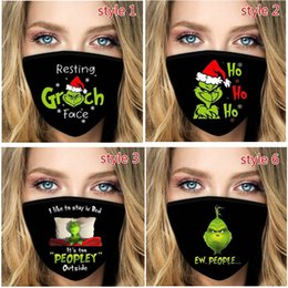 Supporto di stampa 3d online-2020 Green Grinch Face Mask 3D Digital printing Dustproof Comfortable Breathable Outdoor Mask Reusable Washable Support Winter HH9-3624