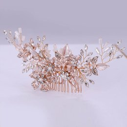 Peines para el cabello de color oro online-Forseven Rose Gold Color Pearl Hair Peine Peine Tiaras Crystal Flower Pein Combs Joyería Novia Cabeza Accesorios para el cabello JL Y200409