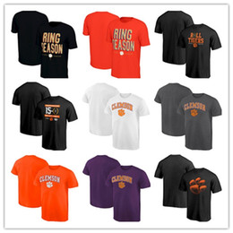 Campioni manica corta online-Clemson Tigers T-shirt manica corta College Football Playoff Champions National Champions Moda Adatta Estate Grown Neck Shirt
