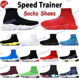 2021 moda tênis para homens 2021 Top quality speed trainer beige mens sneakers socks shoes triple black red white royal fashion men women running shoes cheap boots moda tênis para homens barato
