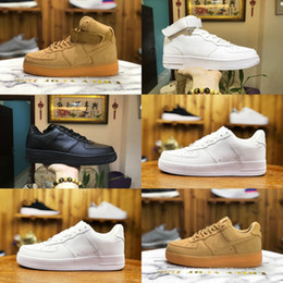 Scarpe da maglia per le donne online-Nike Air Force 1 one airforce Shoes New Men Low Shoes Breathable One Unisex 1 Knit Euro Design Air High Women All White Black Red Fashion Casual sports shoes