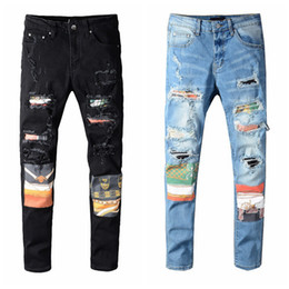 Denim stretch jeans en Ligne-Mens Jeans Skinny Dégrette déchirée Détruit Denim Denim Blanc Blanc Blanc Bleu Fit Fit Hip Hop Pantalon Biker Denim pour hommes Top Qualité