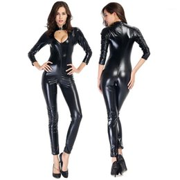 vinilpelle catsuit Sconti Sexy Wetlook Faux Leather Catsuit PVC Latex Body Lattice frontale Zipper Aperto Crotch Manica lunga Vinyl Tuta Night Clubwear Costume1