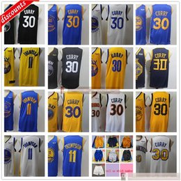 Curry blanc blanc stephen en Ligne-2020 New Black City Basketball Basketball Stephen Klay 30 Curry 11 Thompson Jersey pas chers Edition White City gagné Best Yellow Jerseys Short