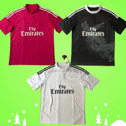 Camicie dragon cinesi online-2014 2015 Real Madrid Retro Jersey di calcio 14 15 Vintage Home White Away Red Third Black Football Camicia Cinese Dragon Ronaldo Benzema Bale