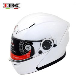 Casco bianco pieno del casco del motociclo online-IBK Bianco Anti-UV Full Face Face Motorcycle Casmet Electric Bicycle Unisex Open-Face Double Visor Four Season Helmet IBK-9651