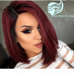 peluca de pelo rojo vino Rebajas Bob Two Tone 1b 99j Borgoña Ombre Human Hair Lace Front Wig Short Bob Wine Red Full Lace Wig For Black Mujer
