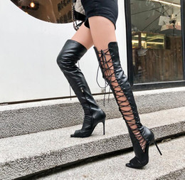 botas largas de sandalia Rebajas Sexy Cut-outs Lace-up Stiletto Tacones altos Gladiadores Sandalias sobre la rodilla Botas Mujeres Peep Toe Zip Party Shoes Lady Boots Long