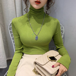 blaue strick t-shirts Rabatt Peacock Blue Spring Autumn 2020 Solid T-Shirt Women Knitted Stretchy Turtleneck Slim Long Sleeve Casual Tops Winter Tee A1112