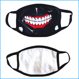 Tokyo ghoul máscara de algodón online-Horror Ken Tokyo Masks Ghoul Halloween Cosplay Party Mask, Kaneki Winter Anti-polvo Cotton Funny Warm Mask