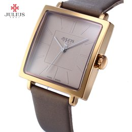 Antike damen golduhr online-Top Marke Julius Quarz Lady Uhren Frauen Luxus Rose Gold Antike Square Leder Kleid Armbanduhr Relogio Feminino Montre 201204