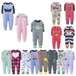 pile di jumpsuit onesie Sconti Bambino Pagliaccetto Cartoon Foot Wrap Tuta Abbigliamento Alci Dinosauro Girl Princess Onesies Girl Boy Polar Fleece Ins Vestiti Body