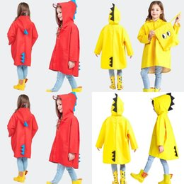 Chicas lindos impermeables online-Lindo Dibujos animados Dinosaurios Niños Impermeable con gorra Pupila Ropa de lluvia Rojo Poncho Amarillo Niño Muchacho Color Sólido Lluvia Impermeable Impermeable 21JY G2