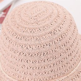 seau de fleurs artificielles Promotion Women Sun Protective Strawhat Artificial Flower Decor Breathable Bucket Hat SER881