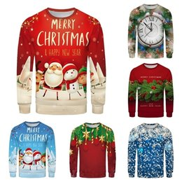 Chandail de noel mens rouge en Ligne-Vêtements Sweat-shirt De Noël Spring Hommes Femmes Couple Fashion Red Plus Taille Taille 3D Impression à manches longues SweaterShirt Tops Sweater 201124