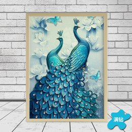 pintura azul pavo real Rebajas DIY Diamond Painting Stitch Blue Peacock Animal Sala de estar Decoración Full Rhinestone Mosaic 5D Dimond Bordado
