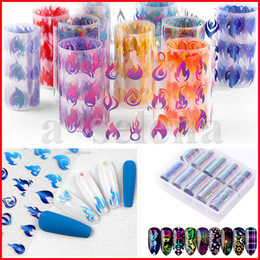 Artigianato a nastro art online-10 pz A Lot Laser Colorful Nail Art Sticker Adesivo 3D Fiamma Fire Foglia foglia foglia Olografica Nail Pellicola Adesivi Decalcomanie Diy Scintillio Decorazioni