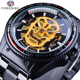 Reloj steampunk automático online-Forsining Steampunk Golden Luminoso Skull Negro Acero inoxidable Esqueleto Skeleton Open Work Mens Automatic Watches Top Brand Reloj de lujo
