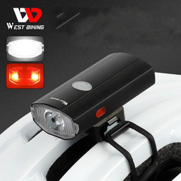 Luz trasera recargable para bicicleta online-Oeste Biking Bicycle Front Light USB Recargable Warn Luz trasera LED Faro Bike Casco Lámpara Ciclismo para Bicicleta M299