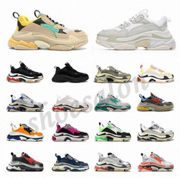 Leder mann schuhe online-2020 Designer Triple S  Shoes Clear Bubble Midsole Men Triple-S Sneakers Increasing Leather Dad  hommes femme  femmes baskets  chaussures balenciaga balenciaca balanciaga