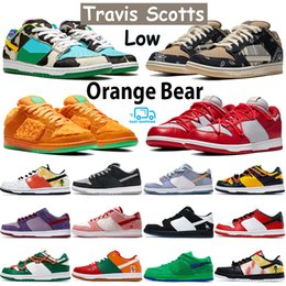 Scarpe rosse verdi online-Travis scotts chunky dunky mens dunk sneakers shadow sean chicago pine green orange panada plum university red tie-dye basketball shoes