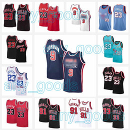 2021 usa maillots de basket-ball 23 MJ 9 Michael Jersey NCAA Scottie 33 Pippen Dennis 91 Rodman 45 MJ College USA 1992 Team Team Taille S-2XL Basketball Jerseys