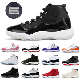 Мужская обувь из змеиной кожи онлайн-Retro 11 shoes Stock X Bred 11 11S Concord 45 Space Jam Snakeskin Men Basketball Shoes Heiress Gamma Blue Snake skin mens Sport Designer Sneakers Trainer