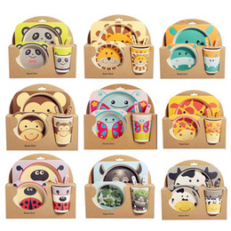Ciotole di alimentazione infantile online-Cartoon kids Dinnerware Set ood Containers Bamboo Fiber Infant Training Dishes Baby feeding gift Set Bowl Cup Plates DHC3905