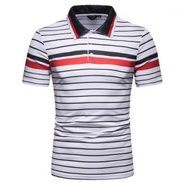 cols bleus Promotion Chamsgend Shirt Mans Summer manches courtes Rouge Blue Stripe T-shirts Grand Taille Coluré T-shirt Musane T-shirt Homme 10FEB221